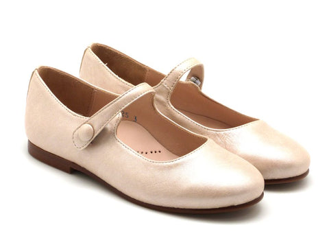 Beberlis Girls Cream Button Mary Jane Dress Shoes