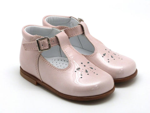 Beberlis Girls baby pink  Mary Jane withvbuckle  Dress shoes-baby Shoes-BEBERLIS-Hopscotch Shoes Australia