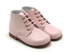 Beberlis Girls baby pink lace up booties  Dress shoes-baby Shoes-BEBERLIS-Hopscotch Shoes Australia