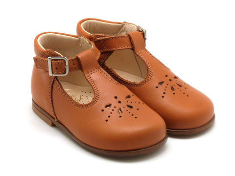 Beberlis Girls baby tan leather  Mary Jane with buckle  Dress shoes-baby Shoes-BEBERLIS-Hopscotch Shoes Australia
