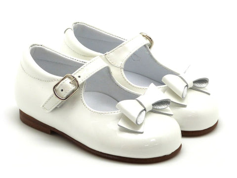 Beberlis Girls baby white ivory Mary Jane with buckle and a bow Dress shoes-baby Shoes-BEBERLIS-Hopscotch Shoes Australia