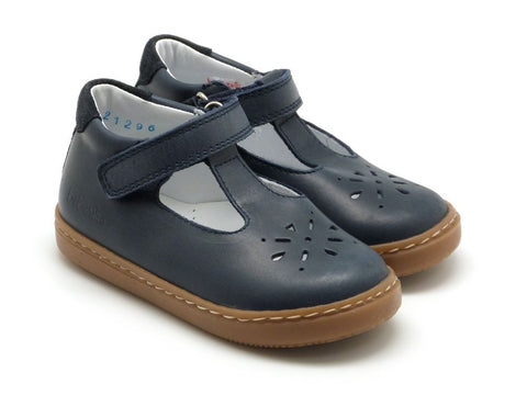 Beberlis Girls  boys toddler navy leather  Mary Jane with velcro  Dress shoes-baby Shoes-BEBERLIS-Hopscotch Shoes Australia