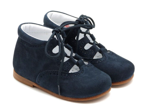 Beberlis Girls boys unisex navy suede lace up bootie  Dress shoes-baby Shoes-BEBERLIS-Hopscotch Shoes Australia