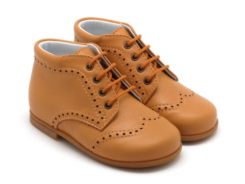Beberlis Girls boys unisex tan leather lace up bootie  Dress shoes-toddler Shoes-BEBERLIS-Hopscotch Shoes Australia