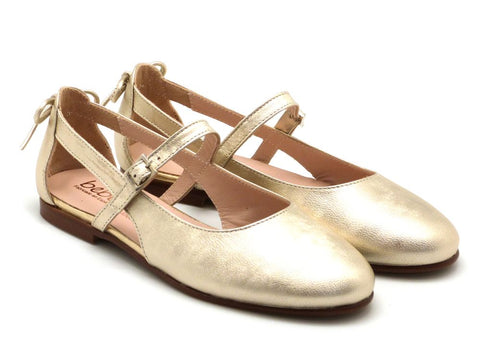 Beberlis Girls gold Bow Mary Jane Dress shoes-girls Shoes-BEBERLIS-Hopscotch Shoes Australia