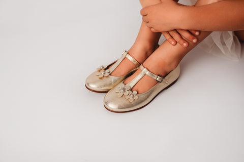 Beberlis Girls leather gold t-bar mary jane with flowers Dress shoes-girls Shoes-BEBERLIS-Hopscotch Shoes Australia