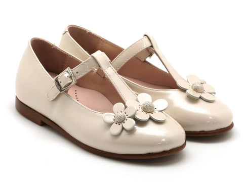 Beberlis Girls leather ivory t-bar mary jane with flowers Dress shoes-girls Shoes-BEBERLIS-Hopscotch Shoes Australia