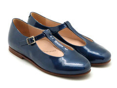 Beberlis Girls leather navy t-bar mary jane  Dress shoes-girls Shoes-BEBERLIS-Hopscotch Shoes Australia
