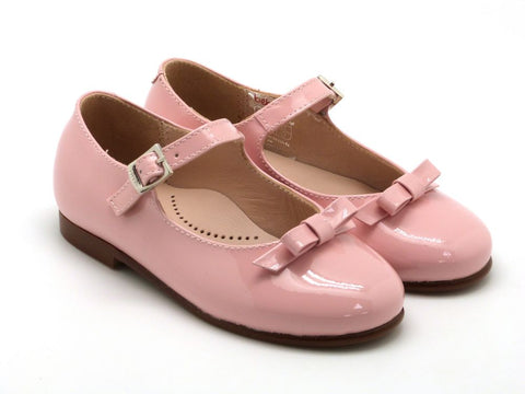 Beberlis Girls leather pink mary jane with bow Dress shoes-girls Shoes-BEBERLIS-Hopscotch Shoes Australia