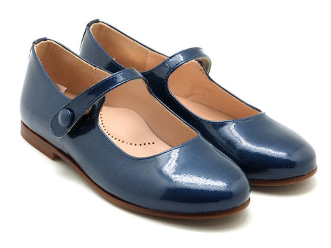 Beberlis Girls navy Button Mary Jane Dress Shoes-girls Shoes-BEBERLIS-Hopscotch Shoes Australia
