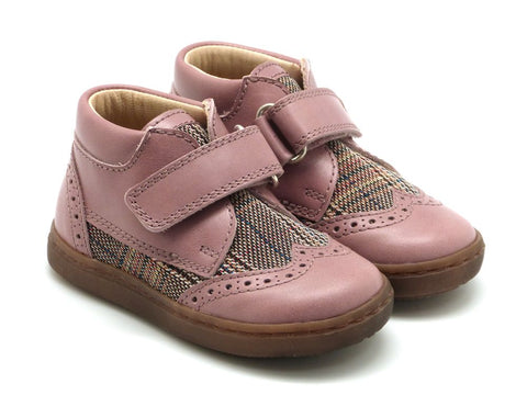 Beberlis Girls pink velcro leather bootie  Dress shoes-baby Shoes-BEBERLIS-Hopscotch Shoes Australia
