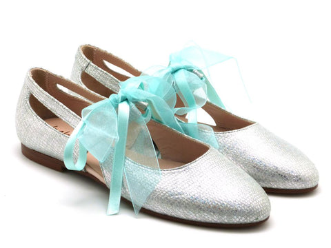 Beberlis Girls silver  Mary Jane with satin laces Dress shoes-girls Shoes-BEBERLIS-Hopscotch Shoes Australia