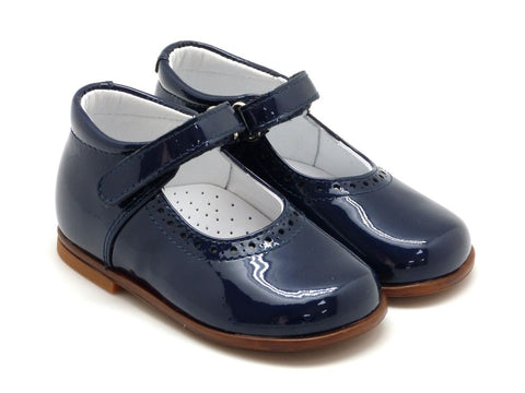 Beberlis Girls toddler navy patent  Mary Jane with buckle  Dress shoes-toddler Shoes-BEBERLIS-Hopscotch Shoes Australia