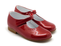 Beberlis Girls toddler red patent  Mary Jane with velcro  Dress shoes-girls Shoes-BEBERLIS-Hopscotch Shoes Australia