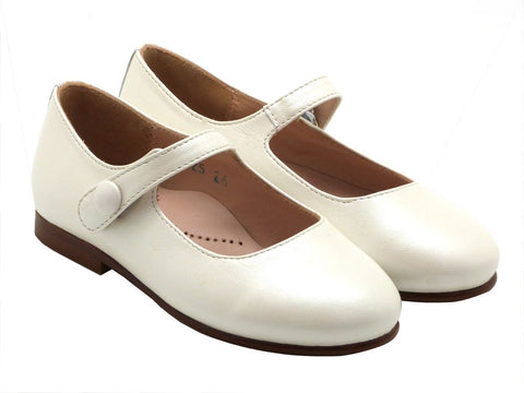 Beberlis Girls white Button Mary Jane Dress Shoes-girls Shoes-BEBERLIS-Hopscotch Shoes Australia