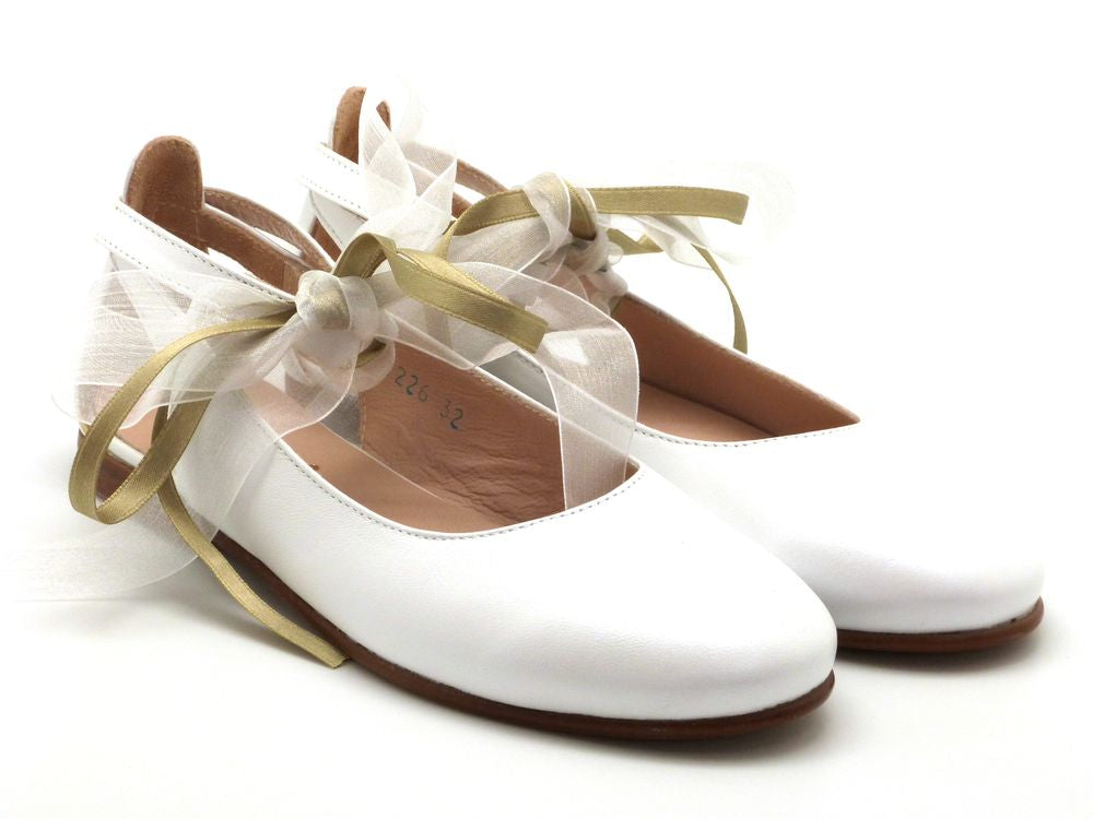 Beberlis Girls white ivory  Mary Jane with satin laces buckle Dress shoes-girls Shoes-BEBERLIS-Hopscotch Shoes Australia