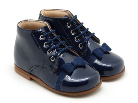 Beberlis Navy lace up patent bootie with velvet bow detail-BabyToddler Shoes-Hopscotch Shoes Australia.JPG