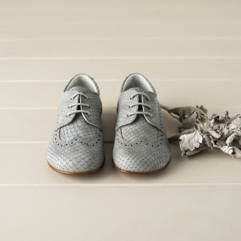 Beberlis Snake Skin Effect Grey Brogue -Boys Shoes-BEBERLIS-Hopscotch Shoes Australia