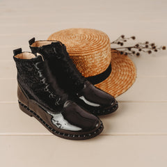 Beberlis Black  Patent and Velvet  ankle Boots - Girls Shoes-BEBERLIS-Hopscotch Shoes Australia.jpg