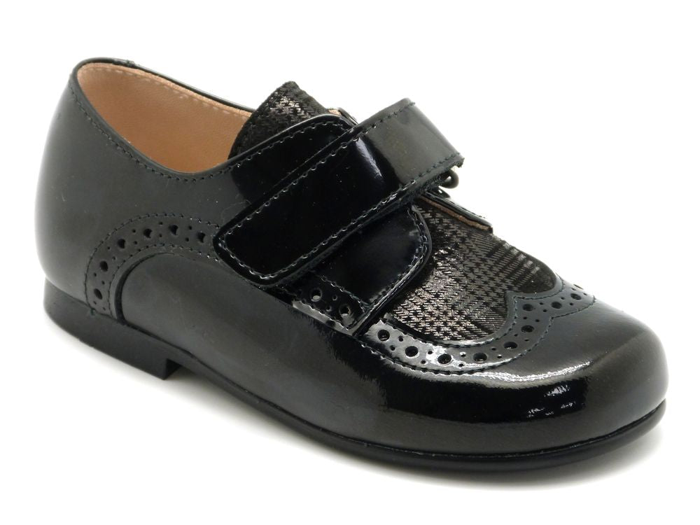 Beberlis Toddler & Boys Black Textured Brogue Dress Shoes-Boys Shoes-BEBERLIS-Hopscotch Shoes Australia