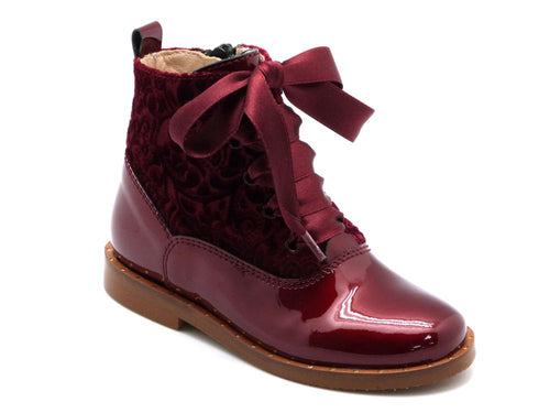 Beberlis Burgundy Patent and Velvet  ankle Boots - Girls Shoes-BEBERLIS-Hopscotch Shoes Australia
