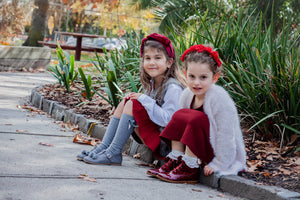 Beberlis Burgundy Patent and Velvet  ankle Boots and grey with glitter t-bar suede mary jane with pom pom and velvet bow - Girls Shoes-BEBERLIS-Hopscotch Shoes Australia