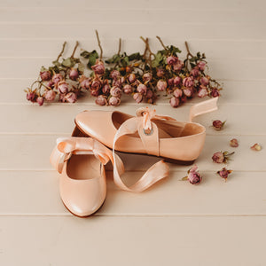 Beberlis Girls Peach Mary Jane with Satin tie ups Dress Shoes -Girls Shoes-Hopscotch Shoes Australia