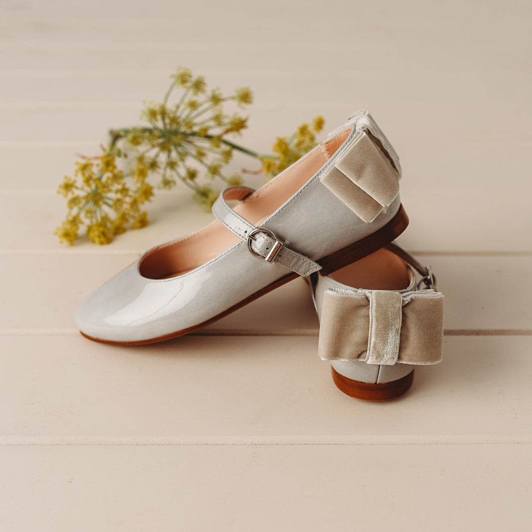 Beberlis Light Grey Velvet Bow Mary Jane -Girls Shoes-Hopscotch Shoes Australia
