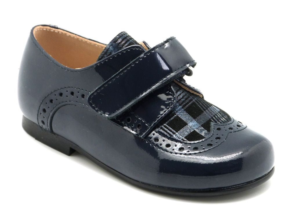 Beberlis Toddler/Boys Navy Plaid Textured Brogue Dress Shoes-Boys Shoes-BEBERLIS-Hopscotch Shoes Australia