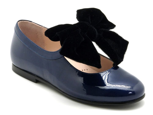 Beberlis Navy patent Mary Jane with black velvet bow-Girls Shoes-BEBERLIS-Hopscotch Shoes Australia