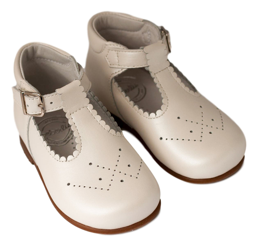 Beberlis Pearl white baby t-bar bootie-Baby Shoes-Hopscotch Shoes Australia