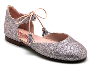 Beberlis Glitter Silver Tie up mary jane-Girls Shoes-BEBERLIS-Hopscotch Shoes Australia
