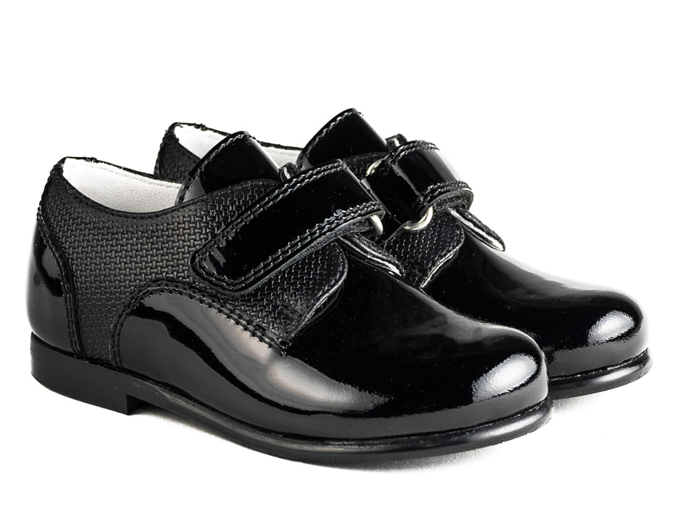 Beberlis black Brogue with velcro-BoysShoes-BEBERLIS-Hopscotch ShoesAustralia