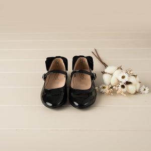 Beberlis black Velvet Bow Mary Jane -Girls Shoes-Hopscotch Shoes Australia