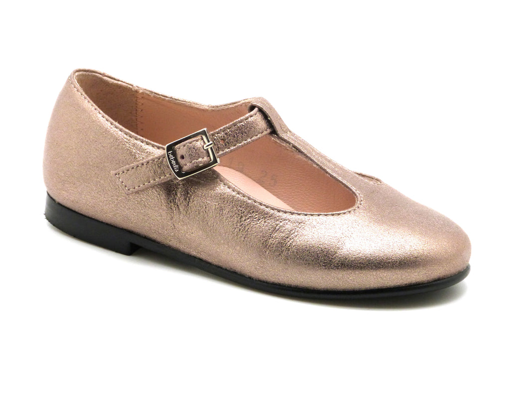 Beberlis classic metallic rose gold t-bar Mary jane-Girls Shoes-BEBERLIS-Hopscotch Shoes Australia