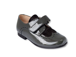 Beberlis Toddler/Boys Grey Textured Brogue Dress Shoes-Boys Shoes-BEBERLIS-Hopscotch Shoes Australia