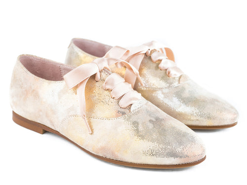 Beberlis gold shimmery brogue with satin laces -Girls Shoes-Hopscotch Shoes Australia