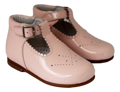 Beberlis light pink baby t-bar bootie-Baby Shoes-Hopscotch Shoes Australia
