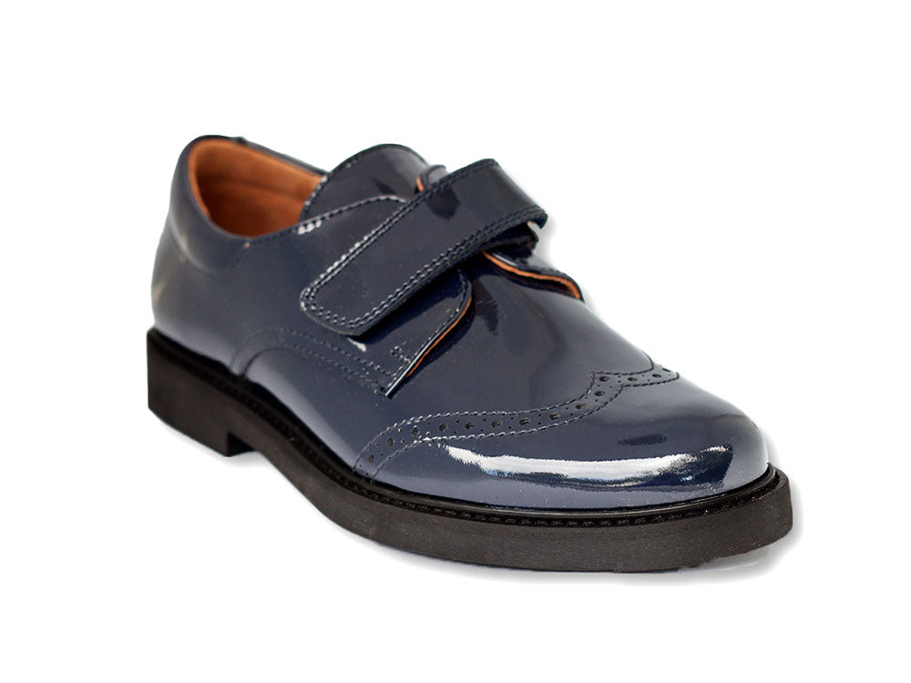 Beberlis Boys Navy Wingtip Brogue Dress Shoes