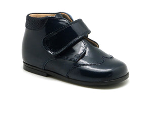 Beberlis navy wing tip patent Bottie-Baby Shoes-BEBERLIS-Hopscotch Shoes Australia