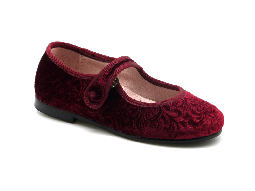 Beberlis Red velvet Mary Jane-Girls Shoes-BEBERLIS-Hopscotch Shoes Australia
