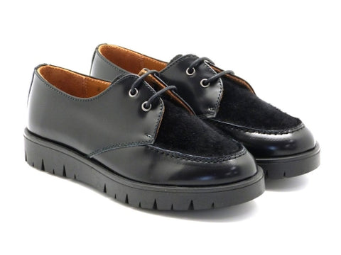 Beberlis black leather Brogue-Girls Shoes -Hopscotch Shoes Australia