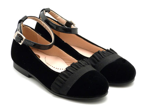 Beberlis black velvet leather Mary Jane with ankle strap -Girls Shoes-Hopscotch Shoes Australia