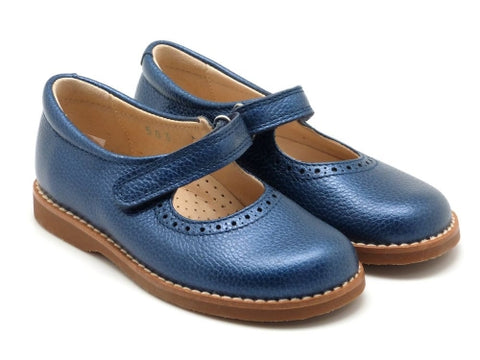 Beberlis blue girls  leather  Mary Jane with velcro  Dress shoes-girls Shoes-BEBERLIS-Hopscotch Shoes Australia