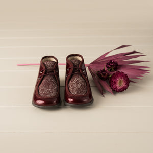 Beberlis burgundy lace up patent bootie with floral detail-Baby/Toddler Shoes-Hopscotch Shoes Australia.JPG