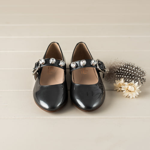 Beberlis charcoal Mary Jane with diamante studs -Girls Shoes-Hopscotch Shoes Australia.jpg