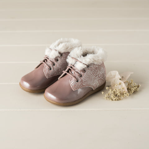 Beberlis dusty pink lace up patent bootie with floral detail and fur collar-Baby/Toddler Shoes-Hopscotch Shoes Australia