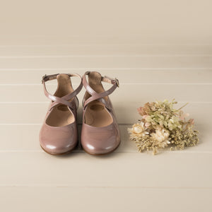 Beberlis dusty pink patent leather mary jane with high back cris cross-GirlsShoes-Hopscotch Shoes Australia