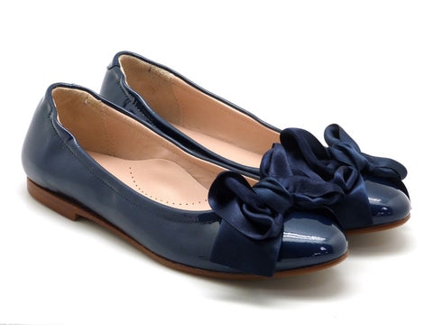 Beberlis navy patent leather ballet flat with a ribbon bow -Girls Shoes-Hopscotch Shoes Australia