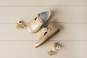 Beberlis pearly cream patent t-bar bootie with a buckle -Baby/Toddler Shoes-Hopscotch Shoes Australia